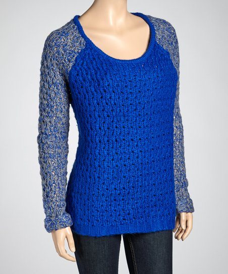 Royal Blue & Heather Gray Raglan Sweater