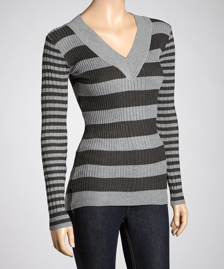 Heather Gray & Charcoal Stripe Sweater