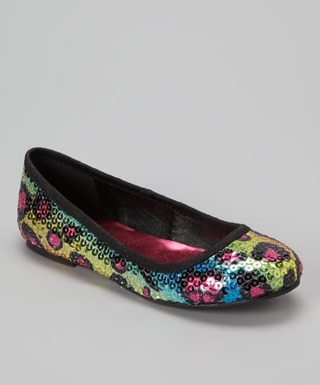 Yellow & Blue Leopard Sequin Ballet Flat