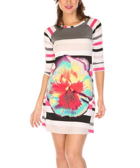 Gray & Pink Flower Three-Quarter Sleeve Dress