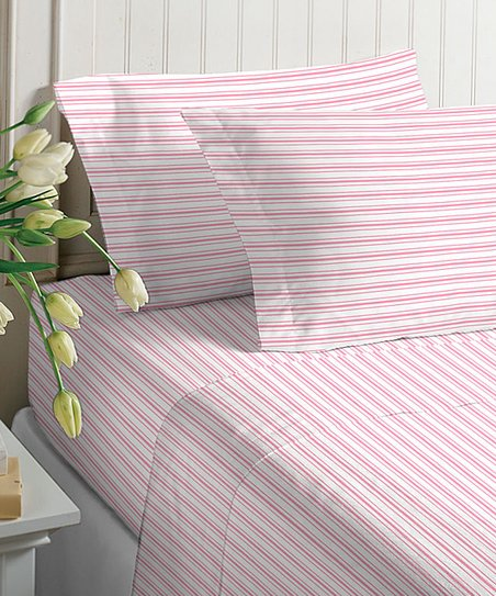 Pink Stripe Microfiber Sheet Set