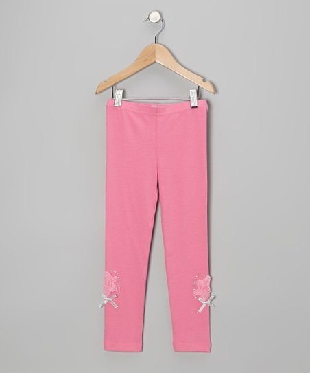 Pink Rhinestone Rose Leggings - Infant