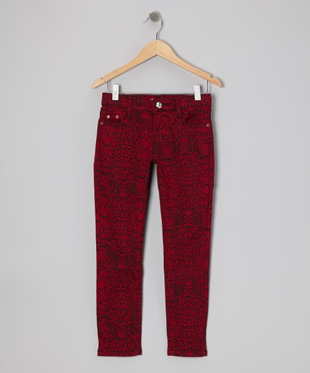 Red Snakeskin Skinny Jeans - Girls