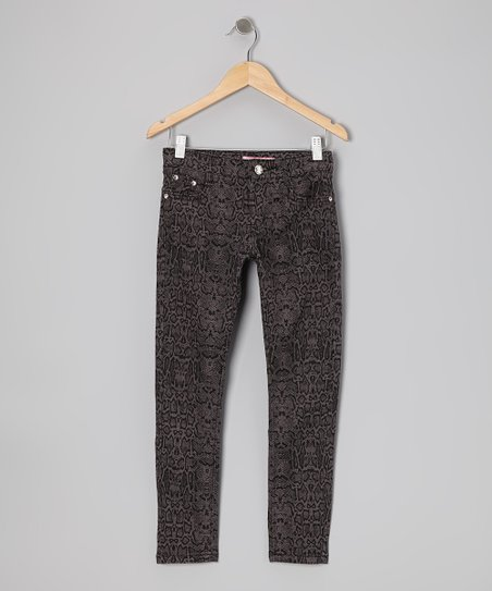 Dark Gray Snakeskin Skinny Jeans - Girls