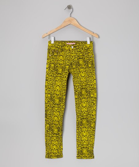 Yellow Snakeskin Skinny Jeans - Girls