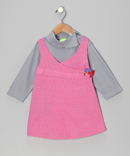 Bubbalicious Pink Polka Dot Turtleneck & Dress - Infant