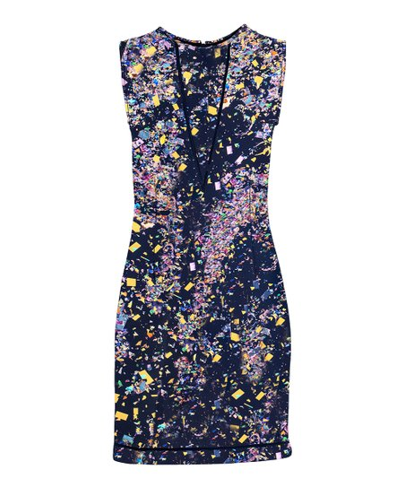 Navy Confetti Sleeveless Dress