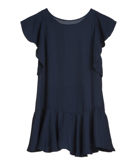 Navy Ruffle Silk Top