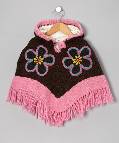 Brown & Pink Flower Wool Hooded Poncho - Infant, Toddler & Girls