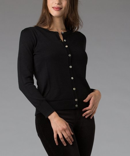 Black Silk-Blend Cardigan
