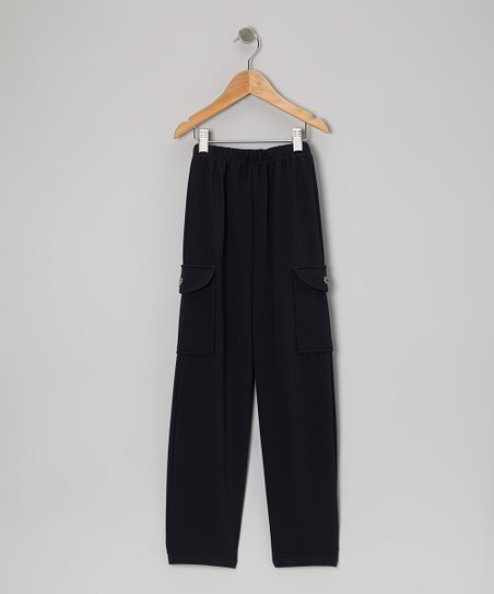 Navy Straight-Leg Cargo Pants - Girls