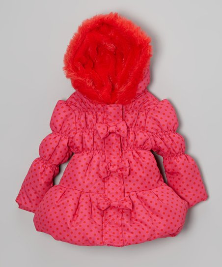 Bright Pink Polka Dot Faux Fur Hooded Coat - Girls