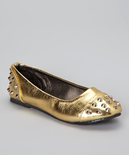 Gold Spike Studded Ballet Flat