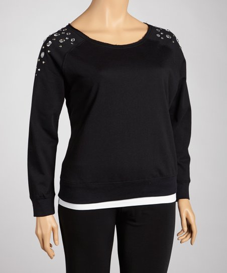 Black Studded Sweatshirt - Plus