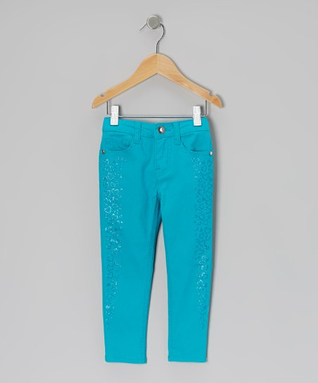 Slick Turquoise Heart Stripe Jeans - Toddler