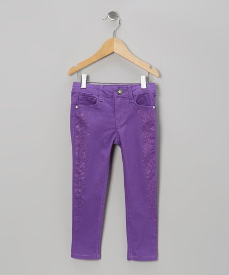 Deep Lavender Heart Stripe Jeans - Toddler & Girls