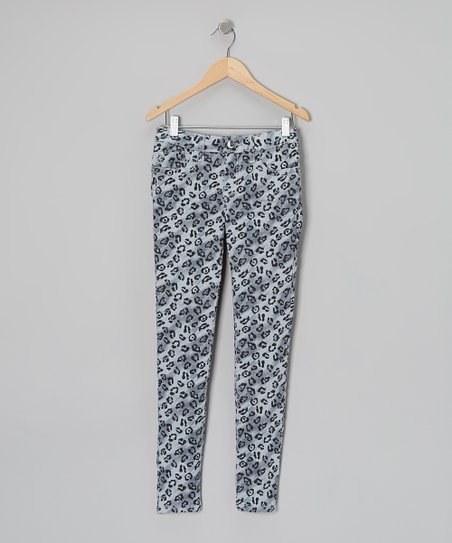 Gray Kylina Leopard Skinny Jeans - Toddler & Girls