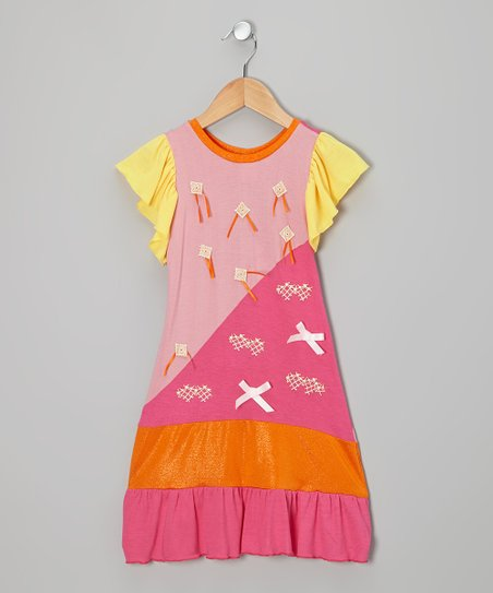 Pink & Yellow Patch Bow Dress - Infant, Toddler & Girls