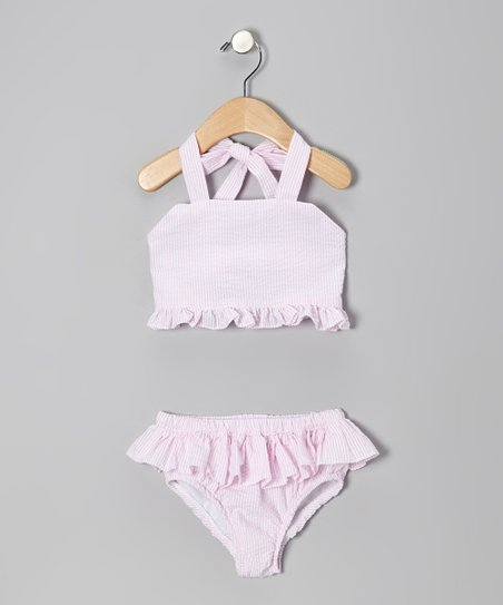 Pink Seersucker Ruffle Bikini - Toddler & Girls