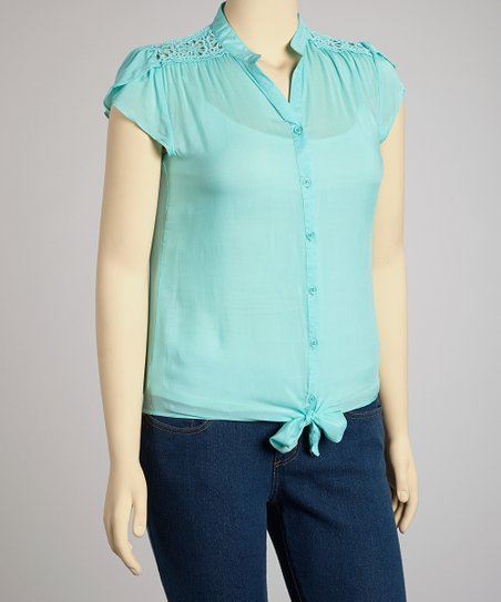 Aqua Tie Waist Top - Plus