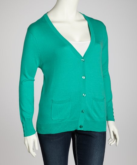 Green Pocket Cardigan - Plus