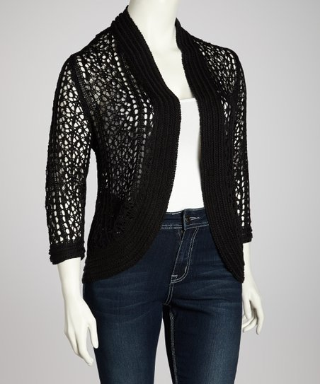 Black Crocheted Open Cardigan - Plus