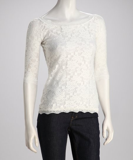 Whisper White Sheer Lace Overlay Top