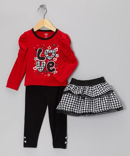 Red 'Love' Top Set - Infant & Toddler