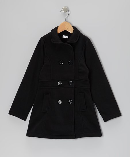 Black Double-Breasted Coat - Toddler & Girls