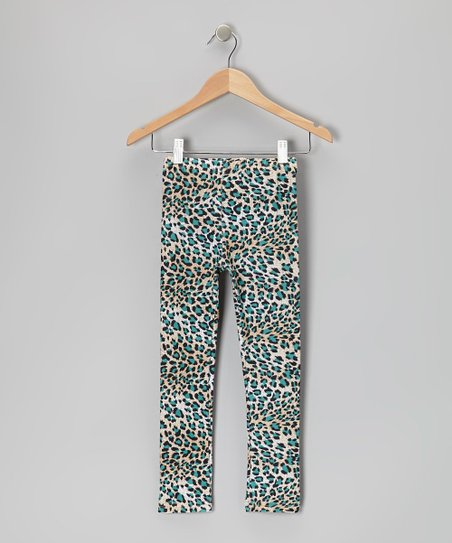 Teal Leopard Leggings - Toddler & Girls
