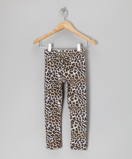Dark Brown Leopard Leggings - Toddler & Girls
