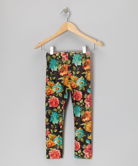 Dark Blue Floral Leggings - Toddler & Girls