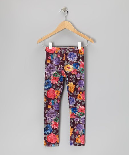 Bright Violet Floral Leggings - Toddler & Girls