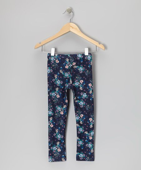 Midnight Navy Floral Leggings - Girls
