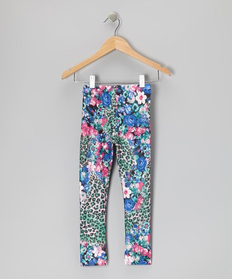 Lavender Leopard Floral Leggings - Toddler & Girls