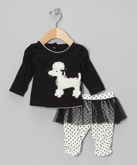 Black Poodle Top & White Skirted Leggings - Infant