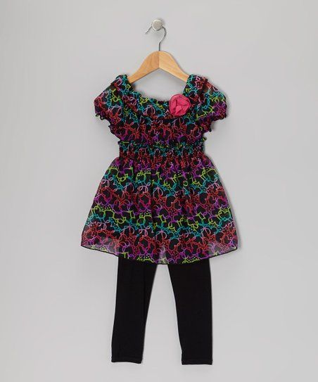 Black Heart Tunic & Leggings - Girls