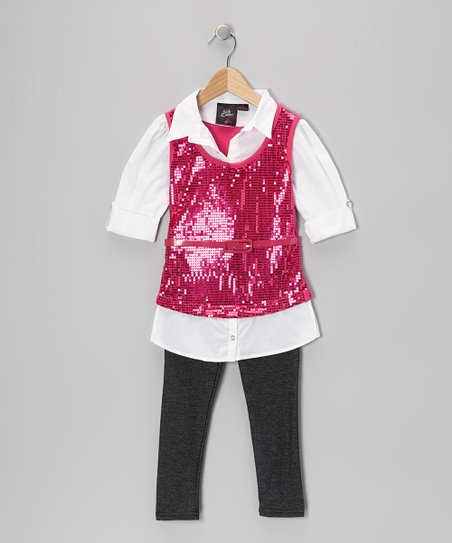 Pink Sparkle Layered Top Set - Girls
