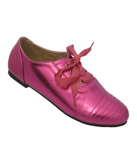 Fuchsia Metallic Ribbon Katty Shoe