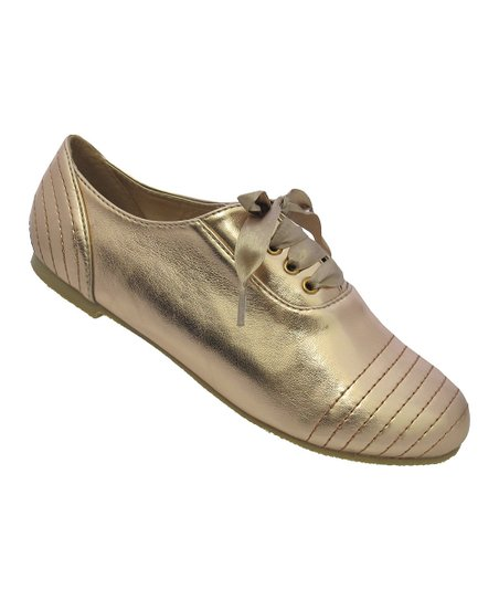 Champagne Metallic Ribbon Katty Shoe