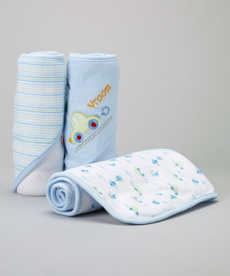 Blue Airplane & Car Hooded Towel - Set of 3