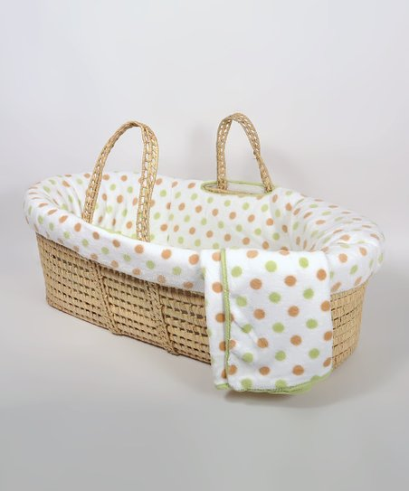 Sage Polka Dot Fleece Moses Basket Set
