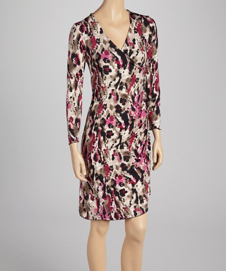 Pink Abstract Surplice Dress