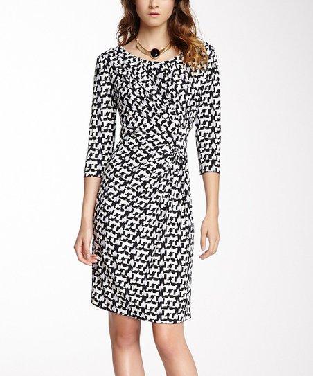 Black & White Digital Ruched Scoop Neck Dress