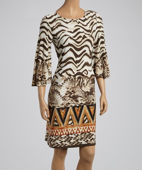 Chocolate Snakeskin & Tribal Dress