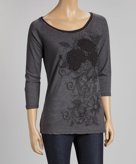 Charcoal Floral Embroidered Scoop Neck Top
