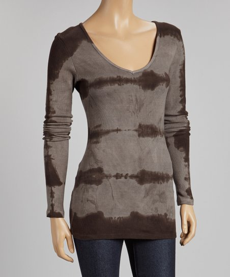 Charcoal & Ash Tie-Dye V-Neck Thermal