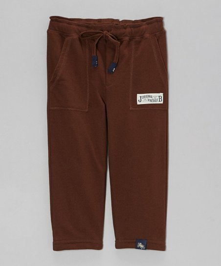 Dark Brown Relaxed French Terry Pants - Toddler & Boys