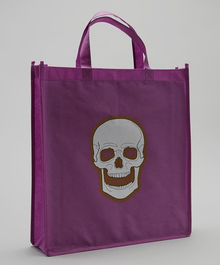 Purple & White Skull Halloween Trick or Treat Bag