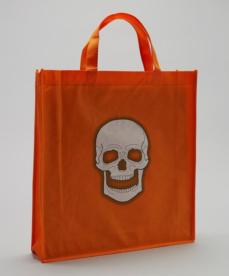 Orange Skull Halloween Trick or Treat Bag